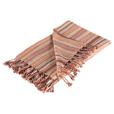 F&F Home Stripe Cotton Throw Wallace - Red