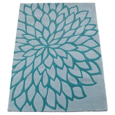 Tesco Rugs Large Flower Rug, Teal 120x170cm