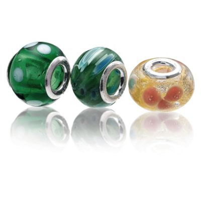 Sterling Silver Yellow/Green Glass Charm 3 Pack