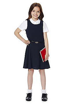 F&F School Girls Belted Pinafore - Navy