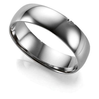 Palladium Mens 6mm D-Shape Wedding Ring, S