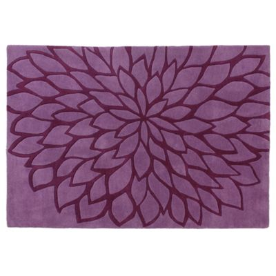 Tesco Rugs Large Flower Rug, Plum 150X240Cm