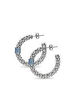 Jewelco London Sterling Silver Crushed Ice Hoop Earrings - Blue Ice