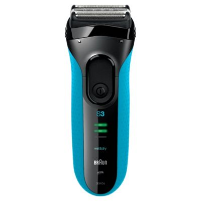 Braun 3040S Series 3 Mens Rechargeable Wet & Dry Foil Electric Shaver - Black / Blue