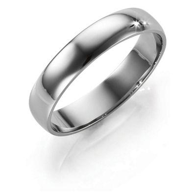 Palladium 4mm D-Shape Ladies Ring, M