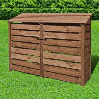 Normanton slatted wooden log store with doors - 6ft