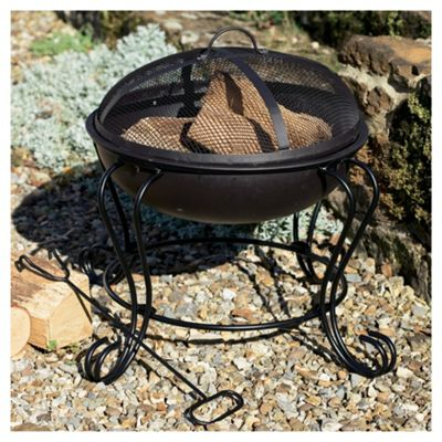 Tesco Small Round Wood or Charcoal Burning Fire Pit, Black