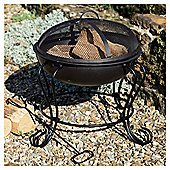 Tesco Small Round Steel Wood or Charcoal Burning Fire Pit, Black