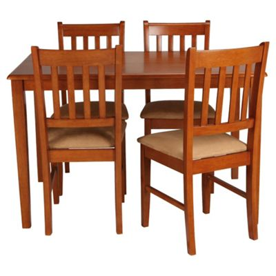 Essen Rubberwood Dining Table and 4 Chairs, Dark