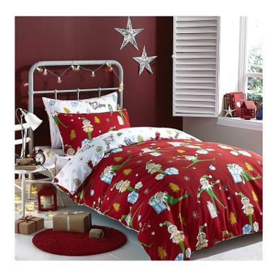 Catherine Lansfield Brushed Cotton Christmas Elfie Duvet Cover Bed in Bag - Single