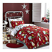 Catherine Lansfield Brushed Cotton Christmas Elfie Duvet Cover Bed in Bag - Red