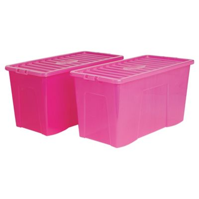 Wham Crystal 110L box with lid, 2 pack pink