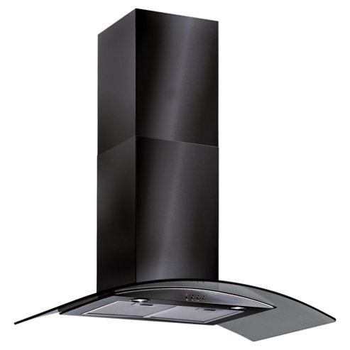 Baumatic BT10.3BGL 100cm Black Curved Glass Chimney Hood