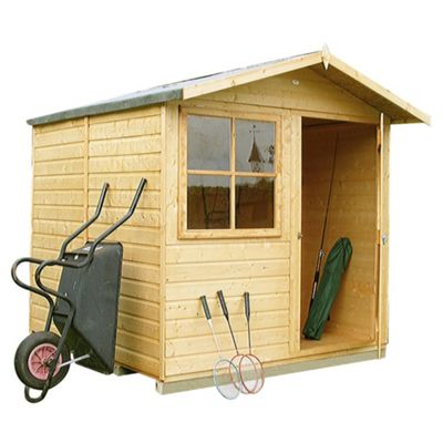 Abri Shed 7x7ft In Shiplap Wood With Apex Roof & Opening Window