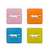 Scion Mr Fox Set of 4 Coasters, Pink