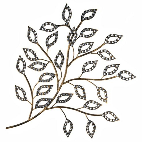 Diamante Leaves Metal Art