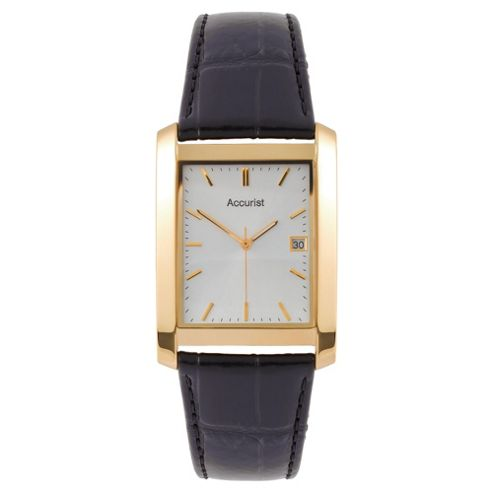 Accurist Mens Black Strap Leather Watch
