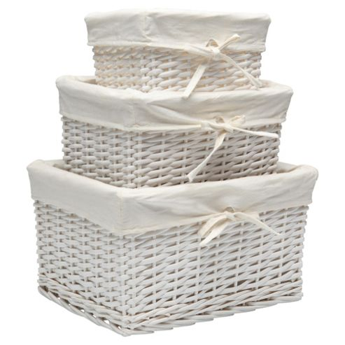 Tesco Wicker Lined Baskets Set Of 3 White