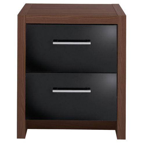 Manhattan Bedside Table, Walnut Effect/Black Gloss