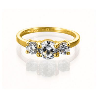 Gold Plated Silver Cubic Zirconia 3-Stone Ring, K