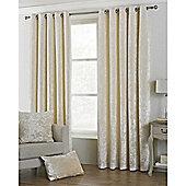 Riva Home Crushed Velvet Verona Eyelet Curtains - Ivory