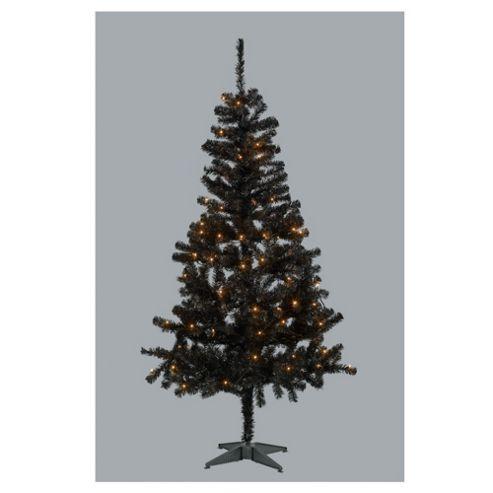 6ft Black Pre-Lit Tree