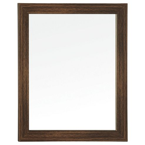 Basic Mirror - Dark Wood Effect 47x37cm