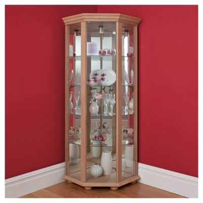 Henley 1 Door Corner Display Cabinet, Oak-effect