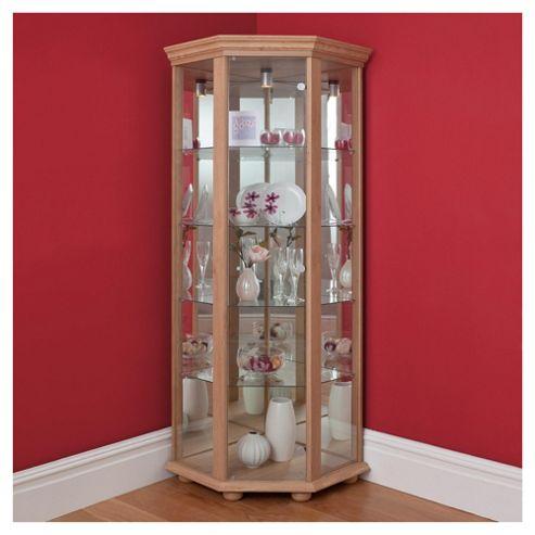 Henley 1 Door Corner Display Cabinet, Oak-effect