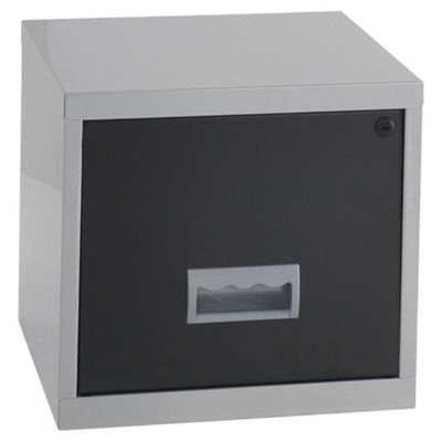 Pierre Henry A4 1 Drawer Maxi Filing Cabinet, Silver With Black Drawer