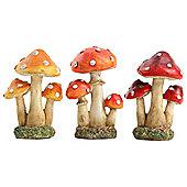 Set of 3 Polyresin Toadstool Mushroom Garden Ornaments