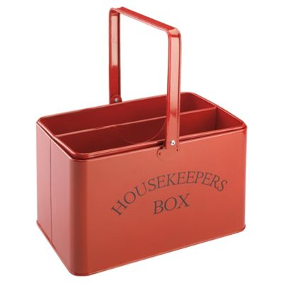 buy red enamel housekeepers box from our storage towers. Black Bedroom Furniture Sets. Home Design Ideas