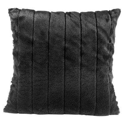 Tesco Ribbed Faux Fur Cushion Black