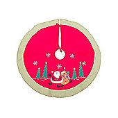Santa And Reindeer Christmas Tree Skirt 1m