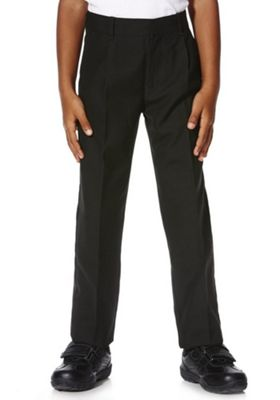 "F&F School 2 Pack of Boys Teflon EcoElite""™ Plus Fit Pleat Front Trousers 11-12 years Black"