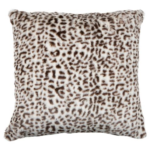 F&F Home Leopard Faux Fur Cushion, Chocolate