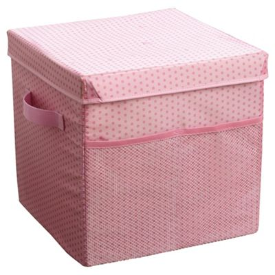 buy tesco kids fabric storage box pink from our storage. Black Bedroom Furniture Sets. Home Design Ideas