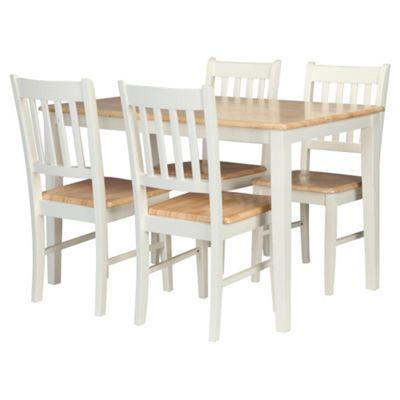 Essen Rubberwood Dining Table   4 Chairs  White   Natural. Buy Essen Rubberwood Dining Table   4 Chairs  White   Natural from