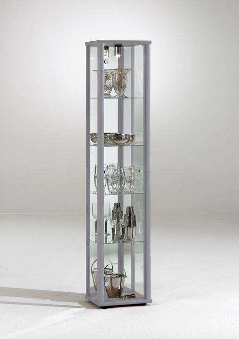 Bradley 1 Door Glass Display Cabinet Silver