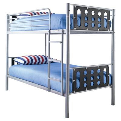 Domino Bunk Bed Frame, Silver & Black Headboard