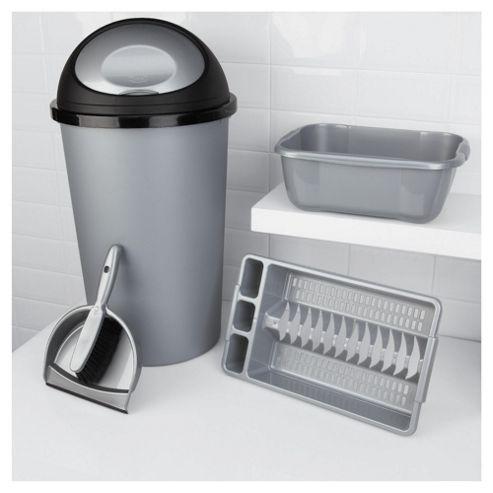 Kitchen 4 Piece Starter Set, Includes Bin, Dustpan, Bowl And Drainer - Silver