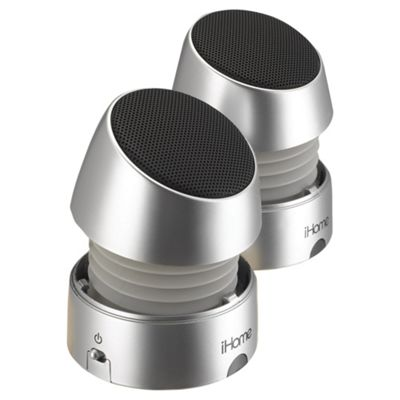 iHome iHM79SE Rechargeable Portable Mini Speakers (Silver)