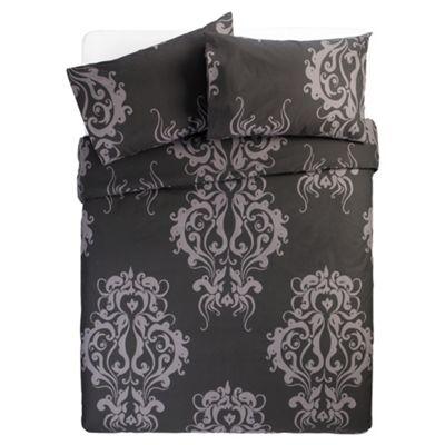 Tesco Damask Print Double Duvet Cover Set, Black