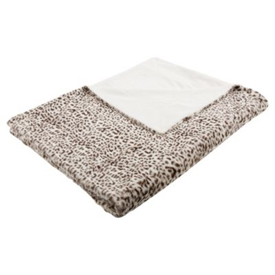 F&F Home Leopard Faux Fur Throw Chocolate