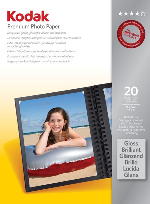 Kodak 6X4 Premium Photo Paper - 20 Sheets
