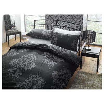 Tesco Damask Print Kingsize Size Duvet Cover Set, Black