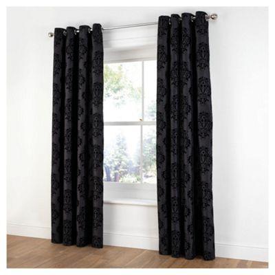 Tesco Flock Damask Lined Eyelet Curtains W163xL183cm (64x72