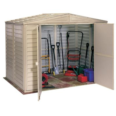 Store More Duramate Plastic Apex Shed with foundation kit, 8x6ft