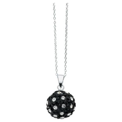 Silver Black & White Crystal Set Ball Pendant
