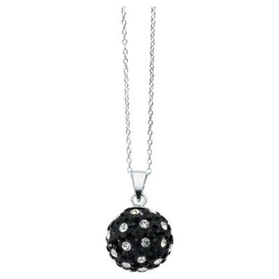 Silver Black & White Crystal Set Ball Pendant